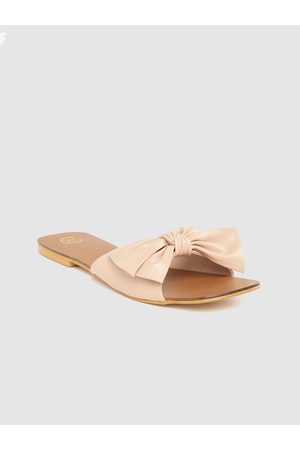 20Dresses Women Peach-Coloured Solid Open Toe Flats with Bow Detail