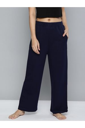 Chemistry Women Navy Blue Solid Lounge Pants