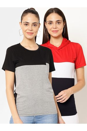 VIMAL JONNEY Women Multicoloured Colourblocked Polo Collar T-shirt