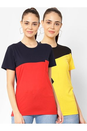 VIMAL JONNEY Women Pack of 2 Colourblocked T-shirts