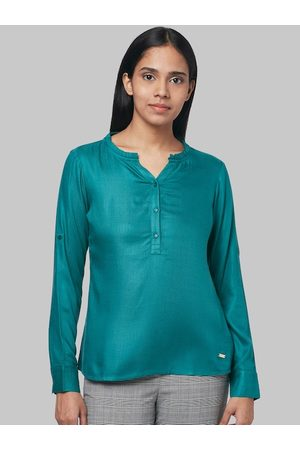 Park Avenue Women Green Solid Shirt Style Top