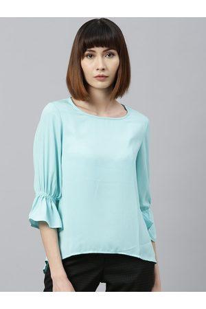 Park Avenue Women Turquoise Blue Solid Top