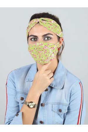Swiss Design Hair Accessories - Green Reusable 2-Ply Outdoor Mask with Criss Cross Headband and Hair Scarf