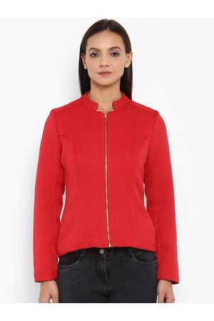 Park Avenue Women Red Solid Tailored Jacket
