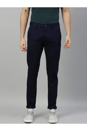 Ralph Lauren Men Navy Blue Slim Fit Solid Regular Trousers