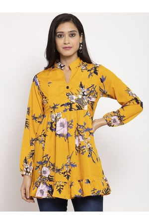 Karmic Vision Women Yellow Yellow Printed Empire Top