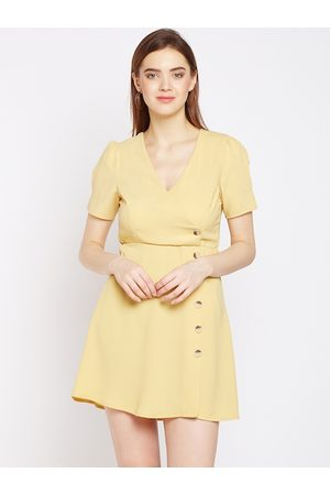 Oxolloxo Women Yellow Solid A-Line Dress