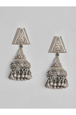 Anouk Silver-Plated Oxidized Dome Shaped Jhumkas