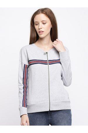 Pepe Jeans Women Grey Striped Sweatshirt