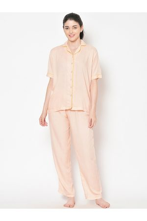 Cation Women Peach-Coloured Solid Night Suit