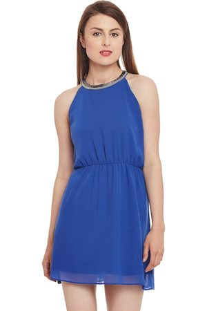 Kazo Women Blue Solid Fit & Flare Dress