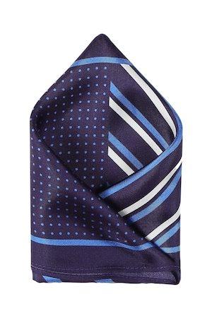 Arrow Men Blue & White Printed Silk Pocket Square
