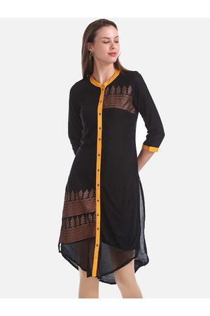 Karigari Women Black & Yellow Printed A-Line Kurta