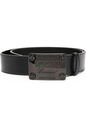 Moschino Men Belts - Logo plaque buckled belt