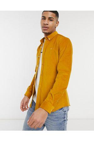 River Island Slim fit cord shirt in mustard