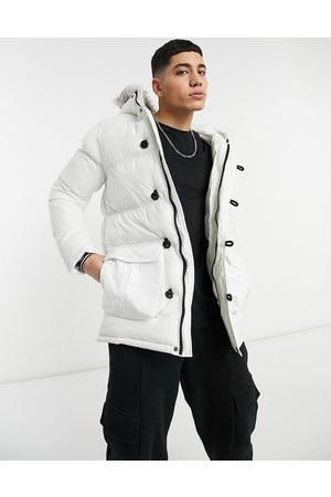SikSilk Puffer parka jacket with faux fur hood in