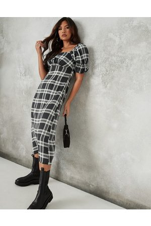 Missguided Midi dress with puff sleeve and ruched detail in check