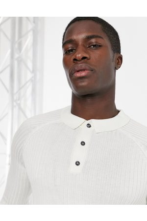 New Look Ribbed muscle fit long sleeve polo in