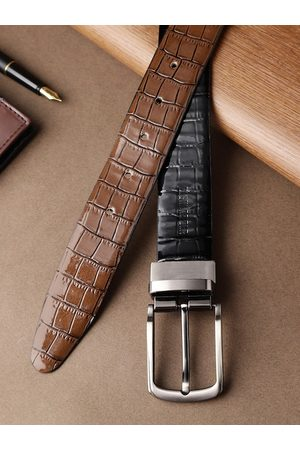Highlander Men Black & Brown Croc-Textured Reversible Belt
