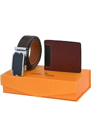 Pacific Men Brown Genuine Leather Accessory Gift Set