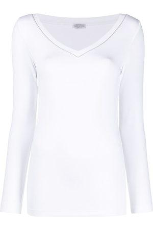 Brunello Cucinelli Women Long Sleeve - Beaded neckline long-sleeve top