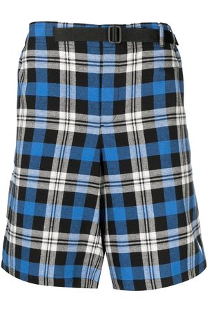 MARCELO BURLON Men Bermudas - Check-pattern belted shorts