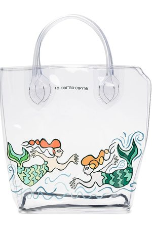 10 CORSO COMO Women Handbags - Large mermaid-print transparent tote bag