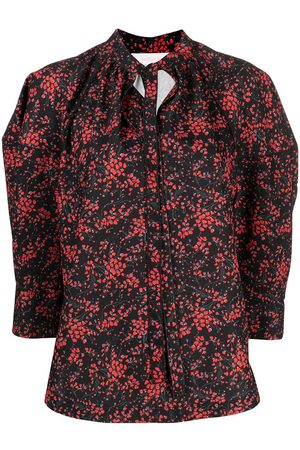 See by Chloé Floral Sweetheart puff sleeves blouse