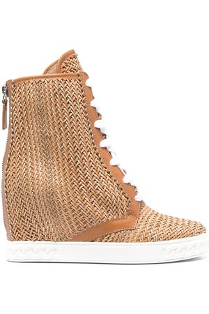 Casadei Ina 80mm woven wedge boots