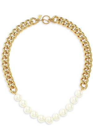 Kenneth Jay Lane 22 Goldplated & Glass Pearl Curb-Link Necklace