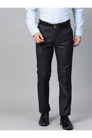 MANQ Men Navy Blue Checked Slim Fit Formal Trousers
