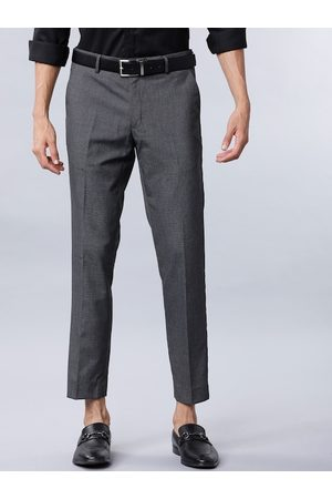 Black coffee Men Charcoal Grey Slim Fit Micro Checked Formal Trousers
