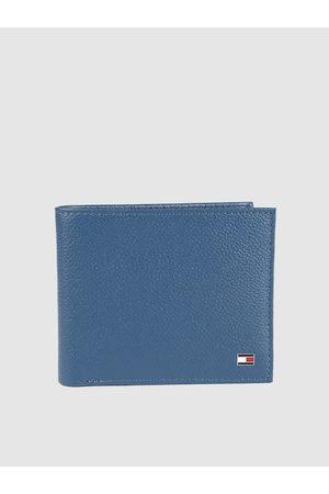 Tommy Hilfiger Men Blue Solid Leather Two Fold Wallet