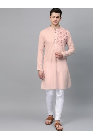 See Designs Men Pink & White Embroidered Kurta with Trousers