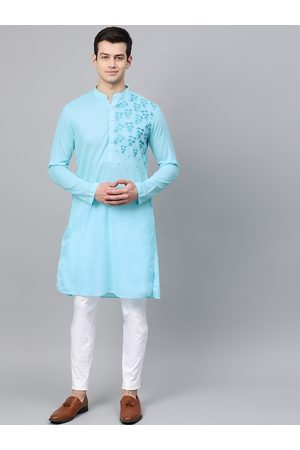 See Designs Men Turquoise Blue Embroidered Kurta with Trousers