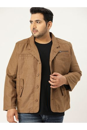 Sztori Men Plus Size Brown Tweed Self Design Tailored Jacket