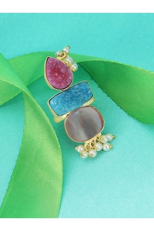 Adwitiya Collection Women Rings - Women Gold-Plated Pink Semi Precious Stone-Studded Handcrafted Gin & Toniq Adjustable Finger Ring
