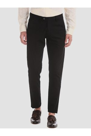 AD By Arvind Men Black Slim Fit Solid Regular Trousers