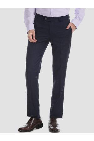 AD By Arvind Men Navy Blue Slim Fit Checked Formal Trousers