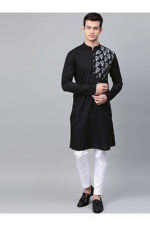 See Designs Men Black Printed Kurta with Churidar