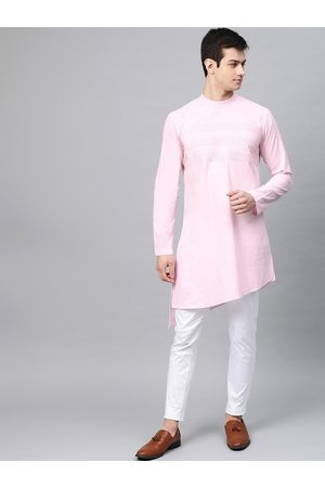 See Designs Men Pink & White Solid Kurta with Trousers
