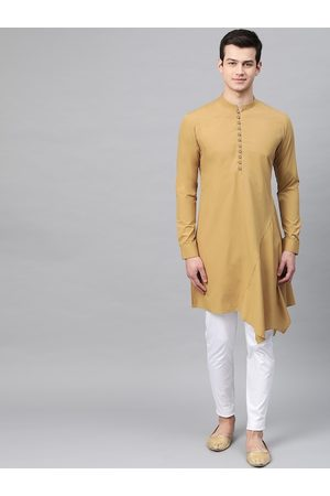 See Designs Men Khaki & White Solid Kurta with Trousers