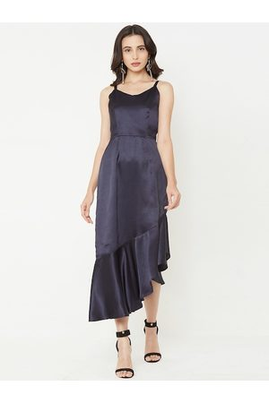 MISH Women Navy Blue Solid Fit and Flare Dress