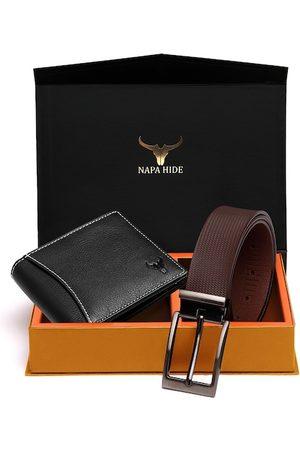 NAPA HIDE Men Black & Brown RFID Protected Genuine Leather Accessory Gift Set