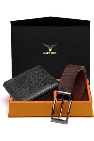 NAPA HIDE RFID Protected Genuine High Quality Leather Wallet & Belt Combo for Men