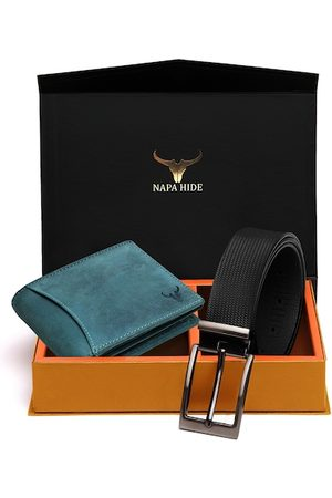 NAPA HIDE Men RFID Protected Genuine High Quality Leather Wallet & Belt Accessory Gift Set