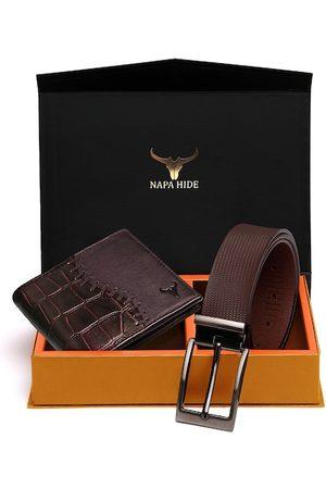 NAPA HIDE Men Sets - Men Maroon & Brown RFID Protected Genuine Leather Accessory Gift Set