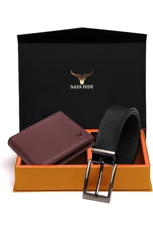 NAPA HIDE Men Black & Brown RFID Protected Genuine Leather Accessory Gift Set