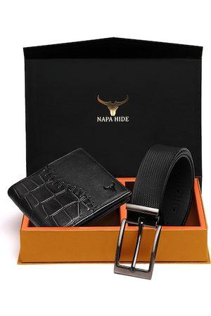 NAPA HIDE Men Belts - Men RFID Protected Genuine High Quality Leather Wallet & Belt Gift Set