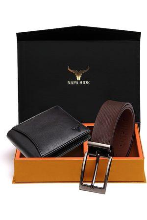 NAPA HIDE Men RFID Protected Genuine Leather Wallet & Belt Accessory Gift Set